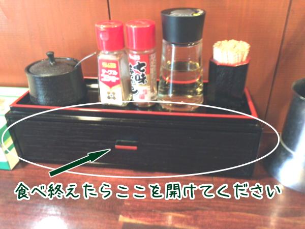 カウンターの木箱